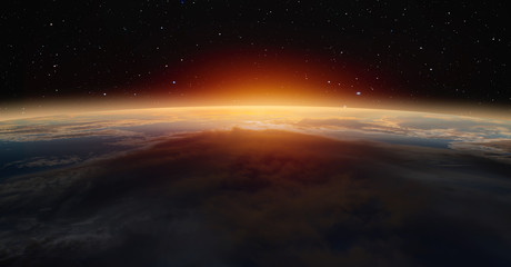 "Planet Earth with a spectacular sunset with aurora""Elements of this image furnished by NASA"""