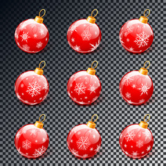 Red christmas balls set isolated on transparent background vector