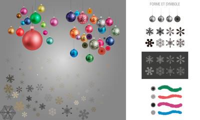 Boules de Noël, guirlandes et flocons de neige avec ses formes et symboles pour Illustrator pour les décorations de Noël