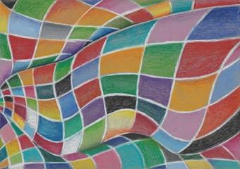 Bunter psychedelischer Hintergund mit Karosmuster, geschwungen, Illustration von Kathrin Schwertner