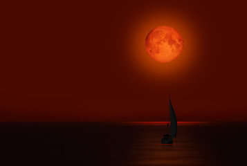 Wall Mural - Big bloody red moon with lone yacht- Lunar eclipse