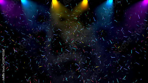 party on stage presentation wallpaper background, on stage show with lighting and colorful Confetti Party