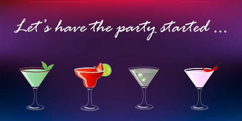 Cocktail party vector invitation poster or banner with four colorful drinks