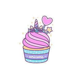 Cute unicorn cupcake on a white background. Unicake it's funny wordplay Unicorn and Cake. It can be used for sticker, patch, phone case, poster, t-shirt, mug and other design.