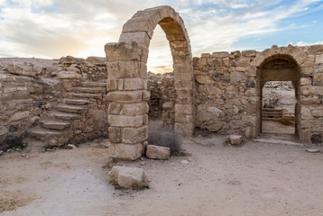 Remains  of a Roman temple in ruins of historical archaeological site Umm ar-Rasas near Madaba city in Jordan