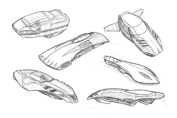 Set of black and white pencil concept art drawings of hoover or flying cars or vehicles.