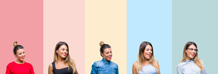 Collage of young beautiful woman over colorful stripes isolated background looking away to side with smile on face, natural expression. Laughing confident.