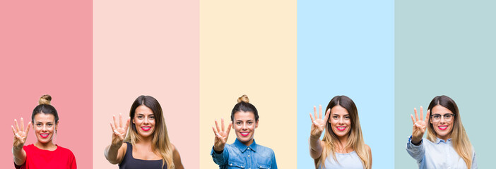 Collage of young beautiful woman over colorful stripes isolated background showing and pointing up with fingers number four while smiling confident and happy.