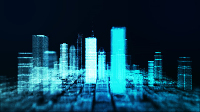 3D skyscraper building hologram of cityscape with motion effect for future technology city and business.