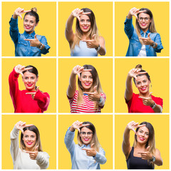 Collage of young beautiful woman over yellow isolated background smiling making frame with hands and fingers with happy face. Creativity and photography concept.