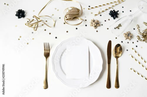 New Year Christmas Styled Black And Gold Table Setting With Plate