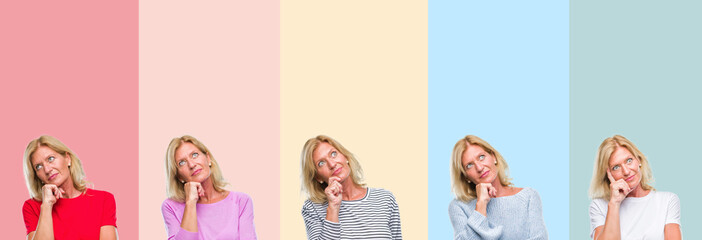 Collage of middle age senior beautiful woman over colorful stripes isolated background with hand on chin thinking about question, pensive expression. Smiling with thoughtful face. Doubt concept.