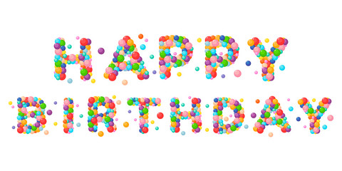 Vector cartoon phrase happy birthday for kids colored balls.
