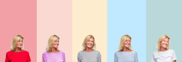 Collage of middle age senior beautiful woman over colorful stripes isolated background looking away to side with smile on face, natural expression. Laughing confident.