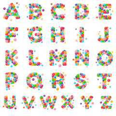 Vector set letters of the alphabet for kids of the colored balls