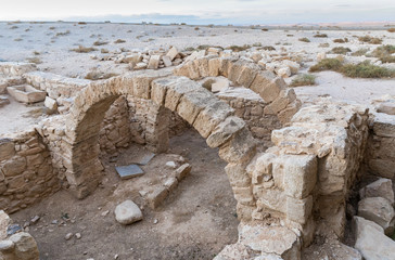 The ruins  of houses on the historical archaeological site Umm ar-Rasas near Madaba city in Jordan