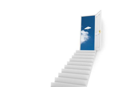 青空へ開く扉と紙飛行機のイラストCG
