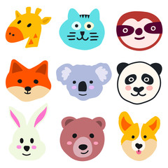 Set of animal heads - giraffe, cat, sloth, fox, koala, panda, rabbit, corgi. Vector hand drawn illustration for greeting card, invitations, kids wear, t shirt, social network stickers, posters design.