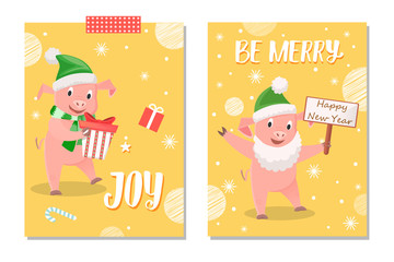 Wishes Greeting with Piglets Gifts and Card Vector