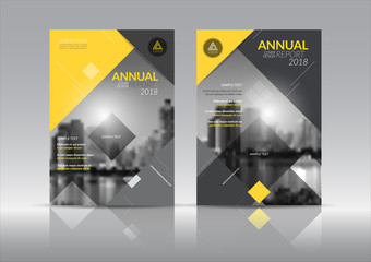 Cover Design template, annual report cover, flyer, presentation, brochure. Front page design layout template with bleed in A4 size. yellow gray colors with abstract background templates.