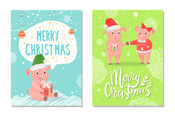 Greeting Card Merry Christmas with Piggy Vector