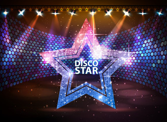 Silhouette of disco star sign on disco stage background