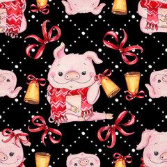 Seamless Christmas pattern with cute pig