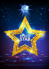 Silhouette of gold disco star sign on disco ball background