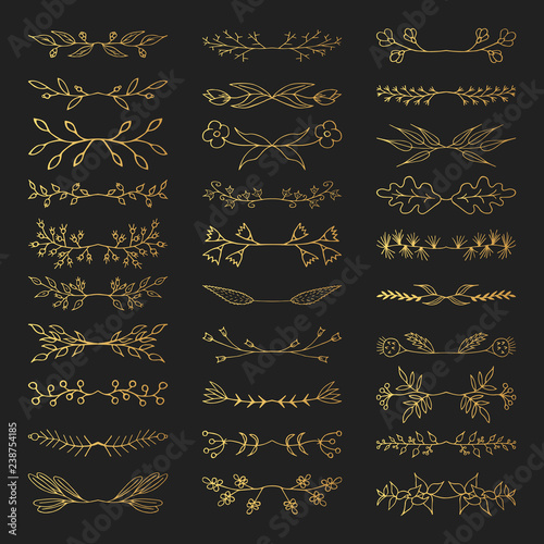 0981bd1cb980 Hand drawn floral golden branch dividers. Vector isolated elements. Wedding flourish  gold borders for invitation card.