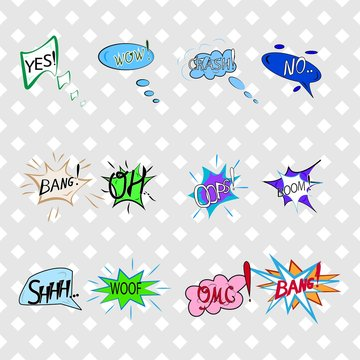 Comics sound speech effect bubbles isolated on white background illustration. Wow, bang, crash, woof, no, yes, boom, oh, omg, oops inscriptions. Humorous set for cloud speech. Vector illustration