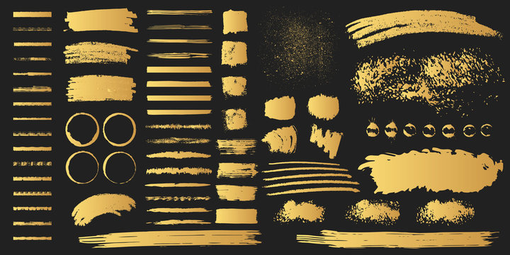 Big collection of hand drawn golden grunge torn box shapes. Vector isolated background. Edge gold frames. Distressed brush strokes, blots, borders and rough dividers.