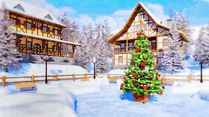 Wall Mural - Decorative watercolor winter landscape with decorated Christmas tree on square of cozy snowbound alpine mountain township with half-timbered houses. Digital art painting.