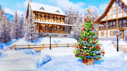 Fototapete - Decorative winter landscape in watercolor style with decorated Christmas tree on square of alpine mountain town with half-timbered houses at daytime. Digital art painting.