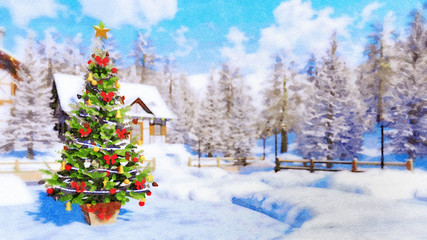Winter landscape in watercolor style with outdoor Christmas tree decorated by golden star and baubles against rural landscape on background at daytime. Digital art painting.