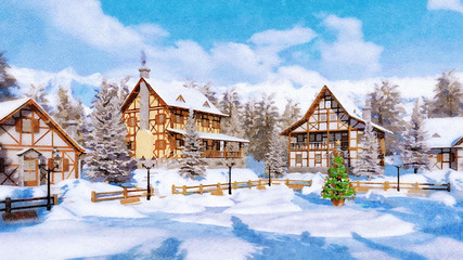 Wall Mural - Winter landscape in watercolor style with decorated Christmas tree on square of snowbound alpine mountain village with half-timbered houses at daytime. Digital art painting.