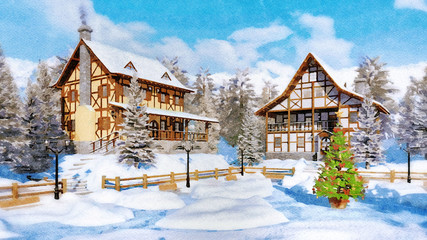 Fototapete - Decorative watercolor winter landscape with outdoor Christmas tree on snow covered square of cozy alpine mountain town with half-timbered houses. Digital art painting.