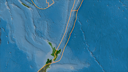 Tectonic plates borders on the satellite map of areas adjacent to the Kermadec plate area.
