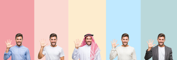 Collage of handsome young man over colorful stripes isolated background showing and pointing up with fingers number five while smiling confident and happy.