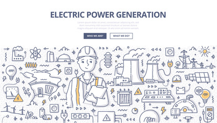 Electric Power Generation Doodle Concept