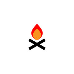 vector illustration of burning bonfire with wood isolated on white background. Sign, symbol, emblem of bonfire. Warning fire.