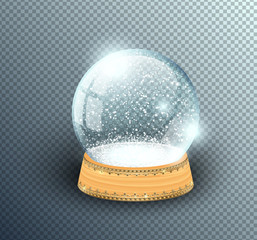 Vector snow globe empty template isolated on transparent background. Christmas magic ball. Glass ball dome, wooden stand with golden crown decor. Winter holiday crystal, snow inside. Xmas toy sphere.