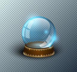 Vector snow globe empty template isolated transparent background. Christmas magic ball. Blue glass ball dome, wooden stand with golden crown decor. Winter holiday crystal. Xmas toy sphere. Witch ball.