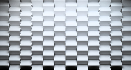 Futuristic modern abstract background.  White zigzag or triangle wall on concret wall. 3d illustration.