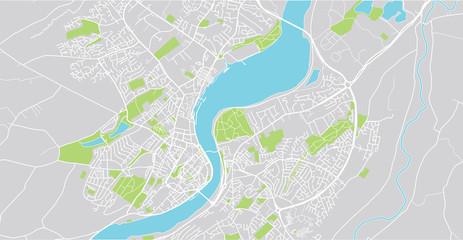 Urban vector city map of Derry, Ireland