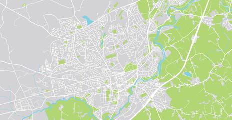 Urban vector city map of Lisburn, Ireland