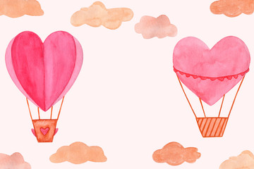 Hand drawn watercolor illustration, hot air balloon in the sky. Valentines day, aquarelle illustration. Isolated objects perfect for Valentine's day card or romantic post cards. Design heart elements.