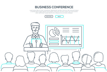Business conference - modern line design style web banner