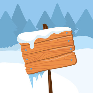 Happy Holidays wooden board sign on winter landscape background vector Illustration, cartoon style