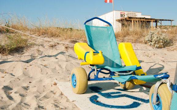 Beach equipped for people with reduced mobility