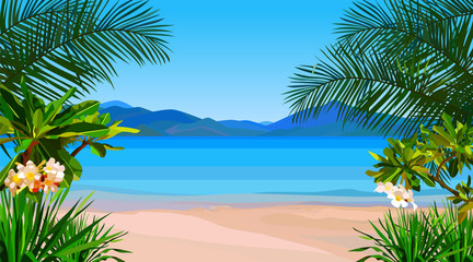 beautiful cartoon coast of the azure sea with tropical plants